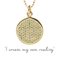 Mel Wells Flower of Life Disc Necklace in Gold