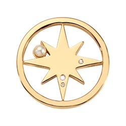 Gold Falling Pearl Star Small Coin 23mm