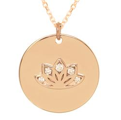 Sparkling Lotus myMantra Necklace in Rose Gold