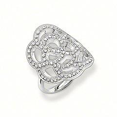 Sterling Silver & CZ Filigree Flower Ring Size 54