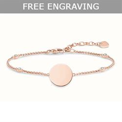 Rose Gold CZ Disc Love Bridge Bracelet 19.5cm