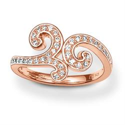 Rose Gold CZ Baroque Ring 54