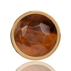 Yellow Gold Tigers Eye Coin 23mm