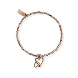 Rose Gold Silver Interlinked Heart Bracelet
