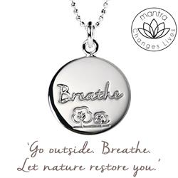 Mantra Breathe Charity Necklace in Silver on card