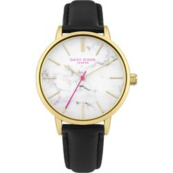Nancie Yellow Gold and Marble Black Leather Watch