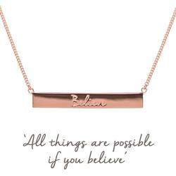 Rose Gold Believe Bar Mantra Necklace