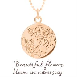 Bloom Flower Disc Necklace in Rose Gold