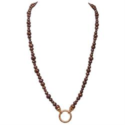 80cm Brown Pearl and Rose Gold Necklace