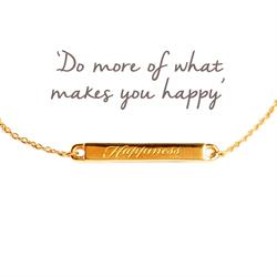 Happiness Mantra Bar Bracelet in Gold