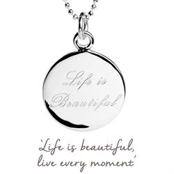 Life is Beautiful Mantra Necklace in Silver