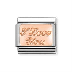 Rose Gold I Love You Plate Charm