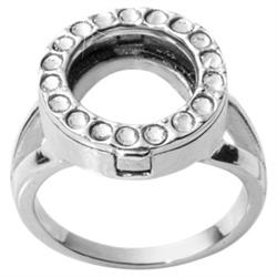Silver and Crystal Coin Ring Size 6