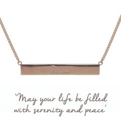 Peace Bar Mantra Necklace in Rose Gold