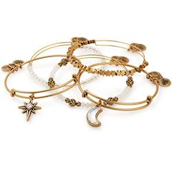 Alex and Ani Moon and Star Set of 5 in Rafaelian Gold