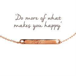 Happiness Mantra Bar Bracelet in Rose Gold