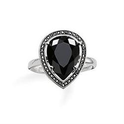 Silver Ring with Onyx Teardrop and Black CZ Size 54