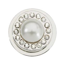White Pearl Silver Ring Coin