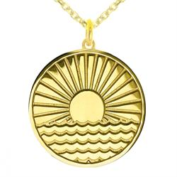 Sun Rising Over Water myMantra Necklace in Gold