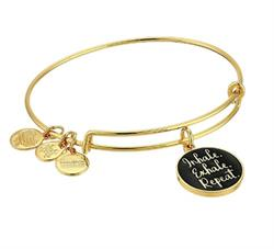 Inhale Exhale Repeat Colour Infusion Bangle in Shiny Gold
