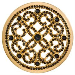 Nikki Lissoni Gold Black Ornament Large Coin 43mm