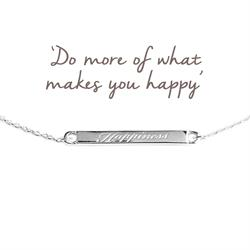 Happiness Mantra Bar Bracelet in Silver