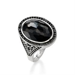 Onyx Black Sterling Silver Ring Size 52