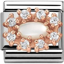 Couture Rose Gold CZ & Mother of Pearl Cluster Classic Charm