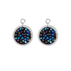 Blue Rock Crystal Silver Coin Drops