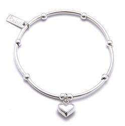 Silver Mini Noodle and Puff Heart Bracelet