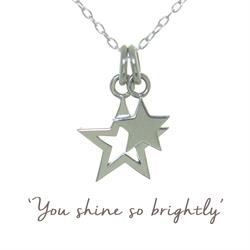 Double Star Mantra Necklace in Sterling Silver