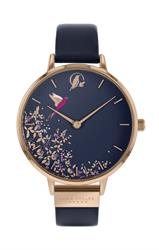 Chelsea Hummingbird Watch, Rose Gold and Navy