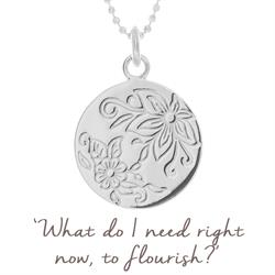 Flower Flourish Disc Necklace in Sterling Silver