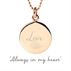 Love Disc Necklace in Rose Gold
