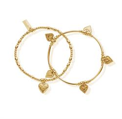 Cherabella Embrace Set of 2 Gold Plated Bracelets