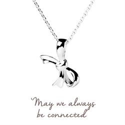 Family & Friends Bow Mantra Necklace in Silver