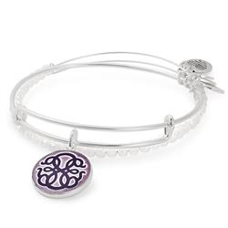 Path of Life Art Infusion bangle Set of 2 in Shiny Silver
