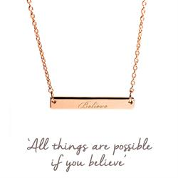 Believe Mantra Bar Necklace in Rose Gold