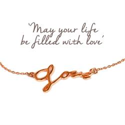 Love Script Bracelet in Rose Gold