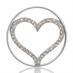 Silver Sparkling Heart Coin 33mm