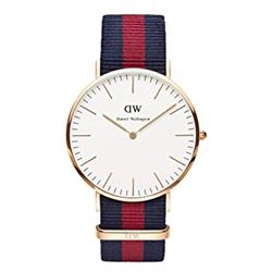 Daniel Wellington Oxford Navy/Red Nato Strap Watch in Rose Gold