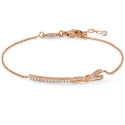 Rose Gold CZ Bow Bar Bracelet