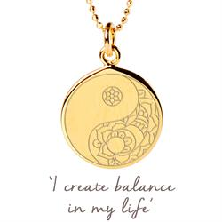 Balance Yin Yang Disc Necklace in Gold