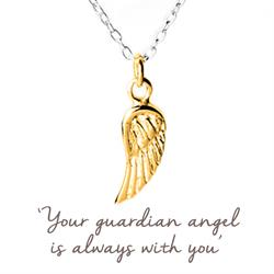 Angel Wing Mantra Necklace in Gold