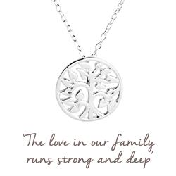 Family Tree Mantra Necklace in Silver