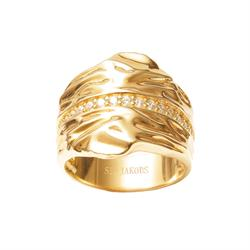 Gold Vulcanello Chunky Ring with CZ (56)