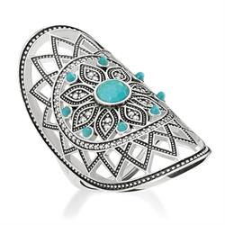 GLAM&SOUL Turquoise Dreamcatcher Ring, size 56