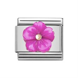 Classic Rose Gold Symbols Fuschia Mother of Pearl Flower Charm