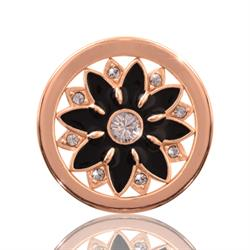 Midnight Flower Rose Gold Coin 23mm