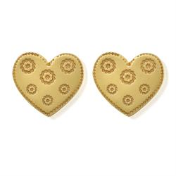 Flower Heart Gold Studs